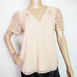 Anthro One September Cora Clipdot Blouse Small